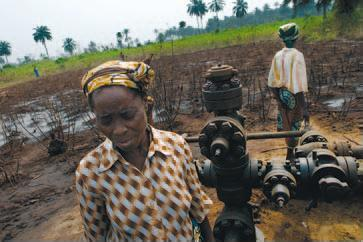 Villagers in Ikot Ada Udo survey the damage caused by a Shell well head that sprayed toxic oil and gas onto their farmland in August 2006 and August 2007.