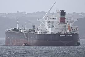 The BP Tanker British Kestrel being refuelled by Lizrix in Falmouth Bay