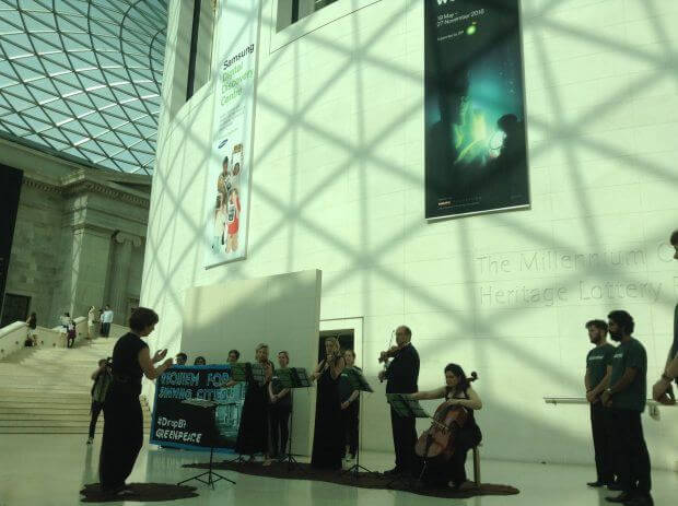 Performance of Requiem to Sinking Cities in the Great Court, British Museum - photo Platform